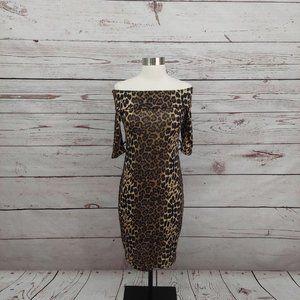 3/$30 Klaxons Leopard Print Bodycon Dress M